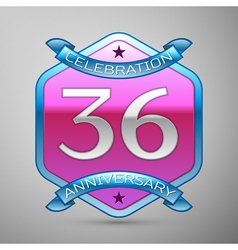 Thirty six years anniversary celebration silver vector