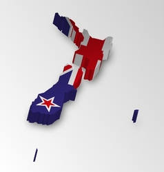 three dimensional map new zealand in flag color vector image