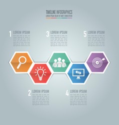 timeline infographic design and marketing icons vector image