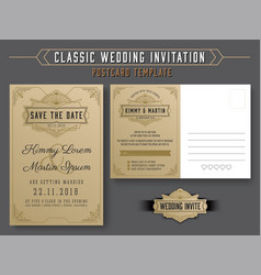 vintage elegant wedding invitation template vector image