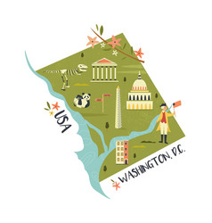 Washington map with landmarks and icon vector