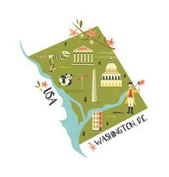 washington with landmarks and icon vector image