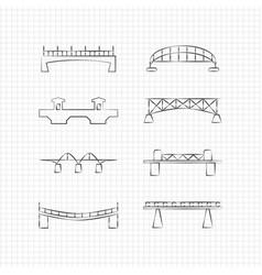 bridges thin line icons vector image