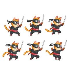 Cat ninja jumping sprite vector