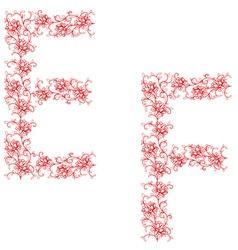 hand drawing ornamental alphabet letter ef vector image vector image