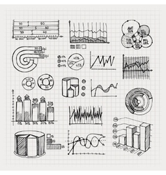hand drawn business charts vector image