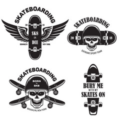 skateboarding labels badges set quotes about vector image