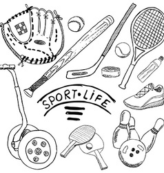 Sport sketch doodles elements Hand drawn set with vector image
