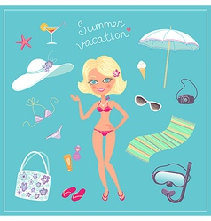 Summer vacation set vector image vector image