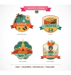 World Cities labels - Mahe Roma Bangkok Bogota vector image