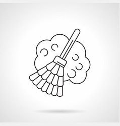 broom with dust flat line icon vector image