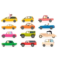 Collection of different types of automobile cabine vector
