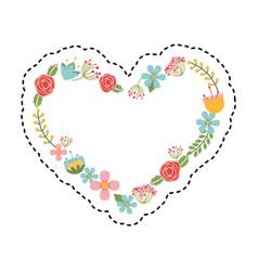 heart wreath leafs crown icon vector image vector image