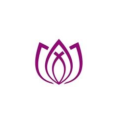 lotus flower line abstract yoga logo vector image vector image