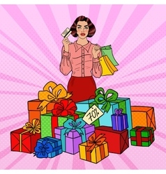 Pop Art Woman with Shopping Bags and Gifts vector image vector image