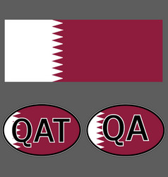 Qatar flag and sticker on the car with vector
