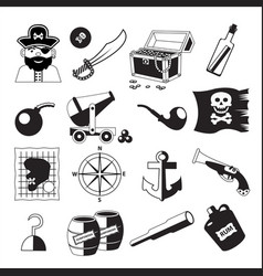 set of pirate and sea elements in black and white vector image