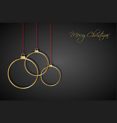 three golden christmas balls with red strings vector image vector image
