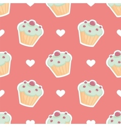 Tile pattern cupcake and hearts on pink background vector image vector image