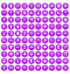 100 woman shopping icons set purple vector