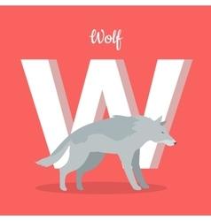 Animals Alphabet Letter - W vector image vector image