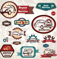 car service retro emblem collection of vintage lab vector image