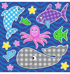 cute colorful marine animals vector image
