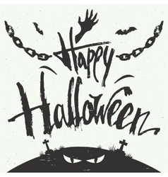 Happy halloween hand drawn typography vector