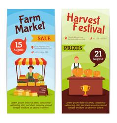 Harvest farm vertical banners vector