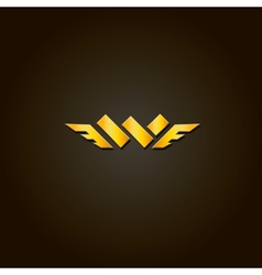 Letter W gold font Template for company vector image vector image