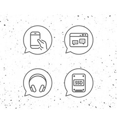 ssd disk headphones and hold smartphone icons vector image
