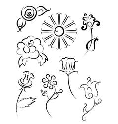 Tattoo flower set vector image