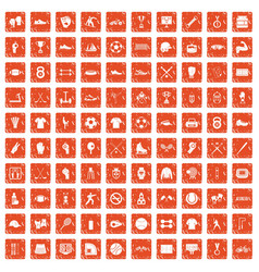 100 athlete icons set grunge orange vector