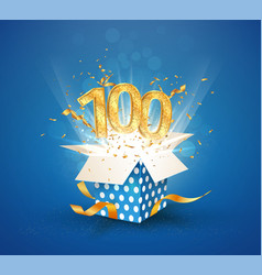 100 th years anniversary and open gift box vector image