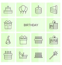 14 birthday icons vector image