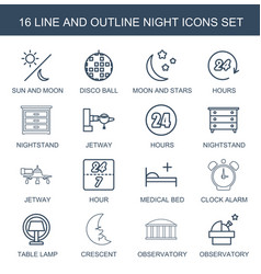 16 night icons vector image