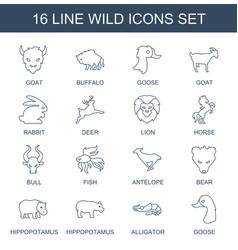16 wild icons vector image