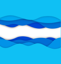 Abstract wavy paper cut background realistic 3d vector