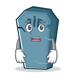 Afraid tombstone character cartoon object vector