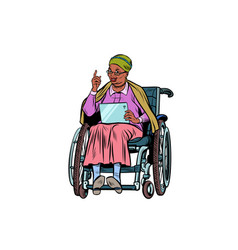 African elderly woman disabled person in a vector