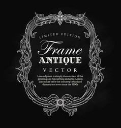 antique frame vintage hand drawn blackboard label vector image
