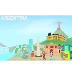 Argentina travel concept cartoon style vector