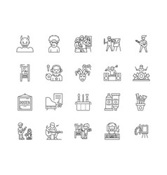 artist line icons signs set outline vector image