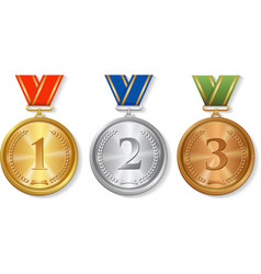 Award gold silver and bronze Medals Set vector