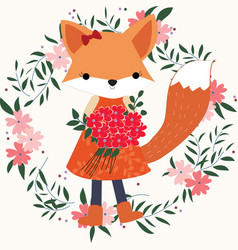 Baby fox girl in the floral frame vector