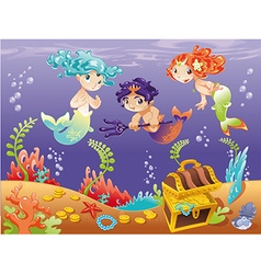 Baby Sirens and Baby Triton with background vector