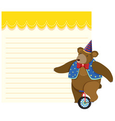 bear riding unicycle note template vector image