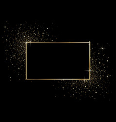 Black background with golden frame vector