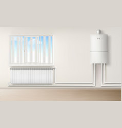 boiler water heater wall connected with radiator vector image