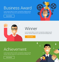 Business award winner achievement flat design vector